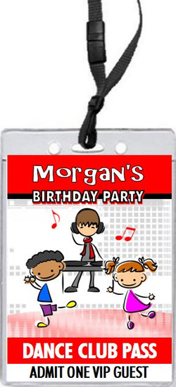 Dance Club Kids Red Birthday Party VIP Pass Invitation