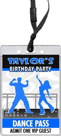 Dance Party Birthday VIP Pass Invitation Blue