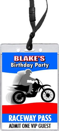 Dirtbike Birthday Party VIP Pass Invitation