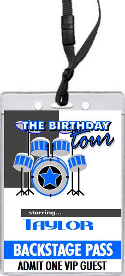 Drummer Birthday Party VIP Pass Invitation