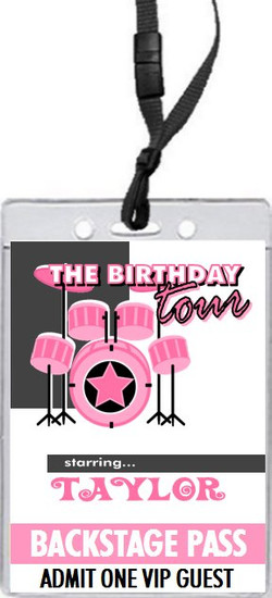 Drummer Girl Birthday Party VIP Pass Invitation