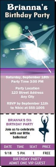 Ballerina Birthday Party Ticket Invitation
