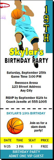 Basketball Aqua Yellow Birthday Party Ticket Invitation