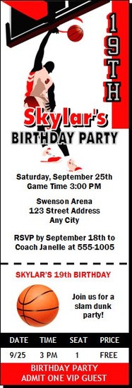 Basketball Dunk Red Birthday Party Ticket Invitation