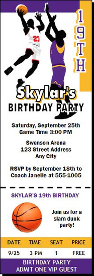 Basketball Game Purple Gold Birthday Party Ticket Invitation