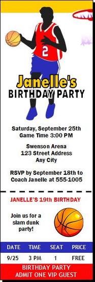 Basketball Girl Birthday Party Ticket Invitation