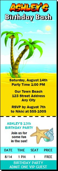 Beach Party Birthday Ticket Invitation