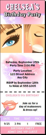 Beauty Queen Birthday Party Ticket Invitation