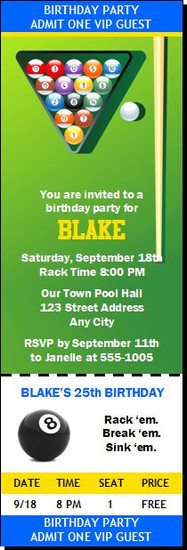 Billiards Table Birthday Party Ticket Invitation
