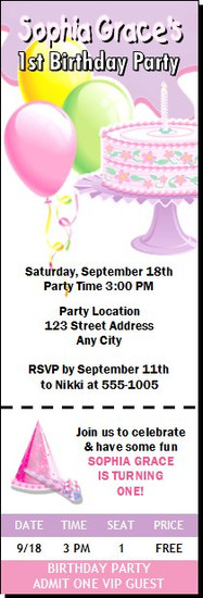 Birthday Girl Party Ticket Invitation