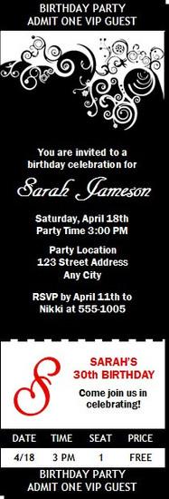 Black & White Birthday Party Ticket Invitation
