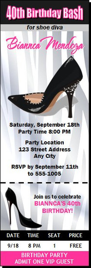 Black Stiletto Birthday Party Ticket Invitation