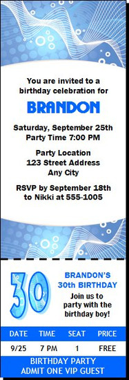 Blue Graphic Birthday Party Ticket Invitation