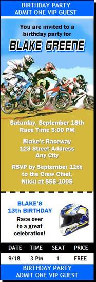 BMX Racing Blue Birthday Party Ticket Invitation