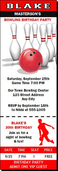 Bowling Birthday Party Ticket Invitation