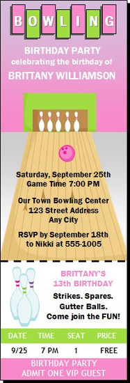 Bowling Pink Birthday Party Ticket Invitation