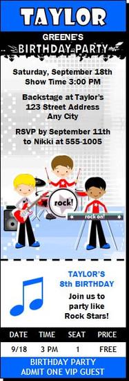 Boy Rock Band Birthday Party Ticket Invitation