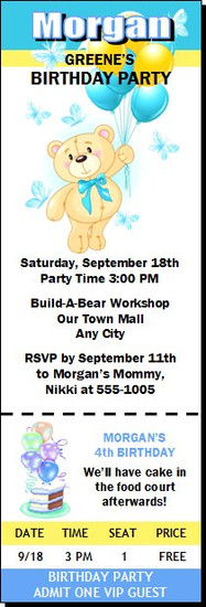 Build a Teddy Bear Birthday Party Ticket Invitation