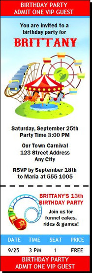 Carnival Birthday Party Ticket Invitation