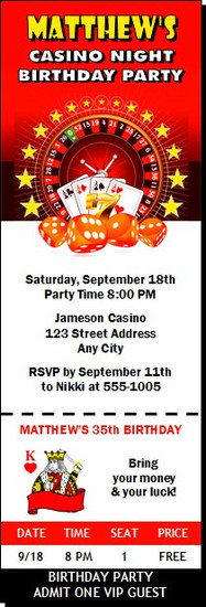 Casino Dice Birthday Party Ticket Invitation