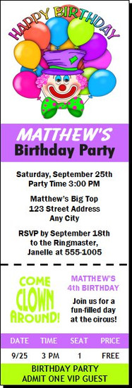 Clown Birthday Party Ticket Invitation