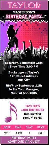 Concert Guitarist Female Birthday Party Ticket Invitation