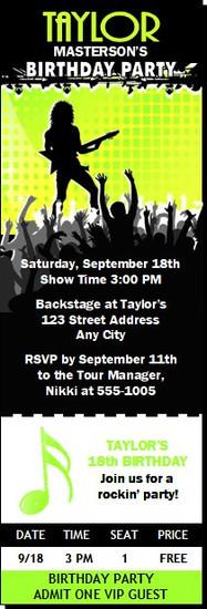 Concert Guitarist Male Birthday Party Ticket Invitation