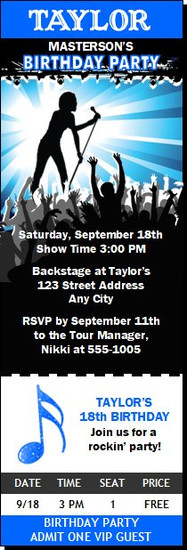 Concert Singer Male Birthday Party Ticket Invitation