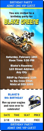 Dirtbike race red birthday party ticket invitation dirtbike race blue birthday party ticket invitation filmwisefo
