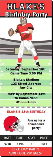Football Birthday Party Ticket Invitation
