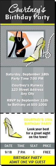 Girly Girl Birthday Party Ticket Invitation