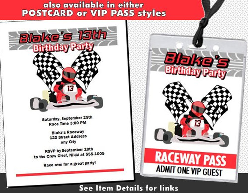 ... Go Kart Racer Birthday Party Ticket Invitation Other Styles ...  Party Ticket Invitations