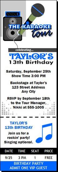 Karaoke Star Birthday Party Ticket Invitation Blue
