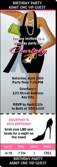 Little Black Dress Dark Birthday Party Ticket Invitation