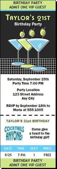 Martinis Blue Green Birthday Party Ticket Invitation