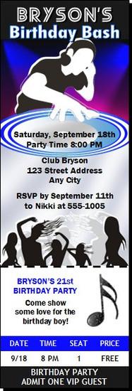 Master DJ Birthday Party Ticket Invitation