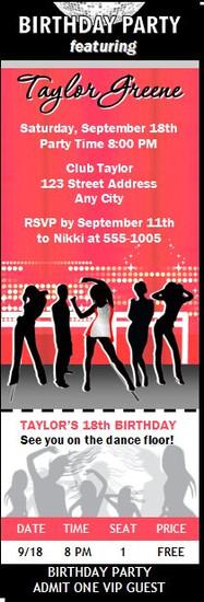 Nightclub Red Birthday Party Ticket Invitation