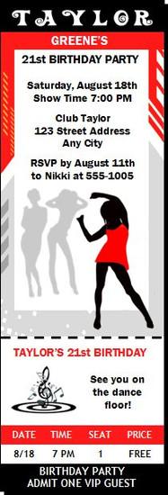 Nightclub Red Silver Birthday Party Ticket Invitation