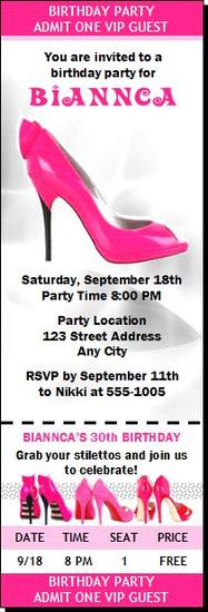 Pink Stiletto Birthday Party Ticket Invitation