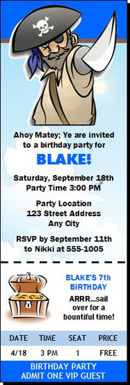 Pirate Birthday Party Ticket Invitation
