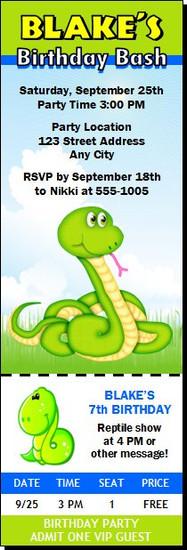 Rattlesnake Birthday Party Ticket Invitation