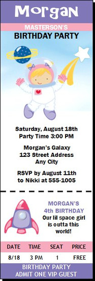 Space Girl Birthday Party Ticket Invitation