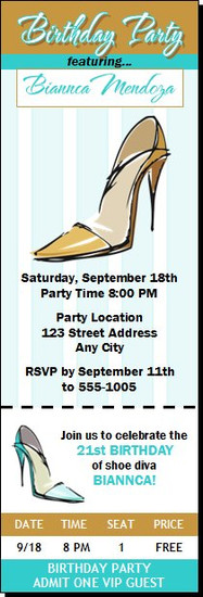Stiletto Birthday Party Ticket Invitation