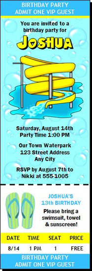 Water Park Birthday Party Ticket Invitation