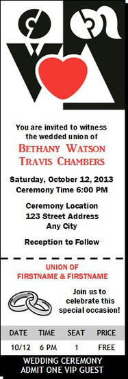 Bride and Groom Wedding Ticket Invitation