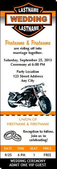Motorcycle Wedding Ticket Invitation