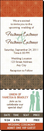 Autumn Retro Flower Wedding Ticket Invitation