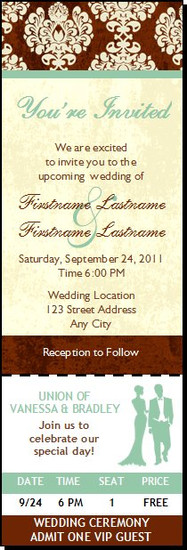 Chocolate Damask Wedding Ticket Invitation, Set of 12