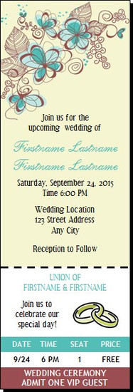 Flower Scribbles Wedding Ticket Invitation