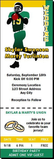 Football Wedding Ticket Invitation Design 2